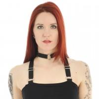 Gothic Halsband mit drei Ringen schwarz