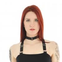 Gothic Halsband mit drei kleinen Schnallen schwarz