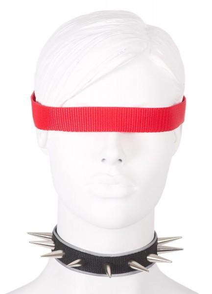 Sale -50% Halsband mit 28mm Nieten und reflektierender Borte